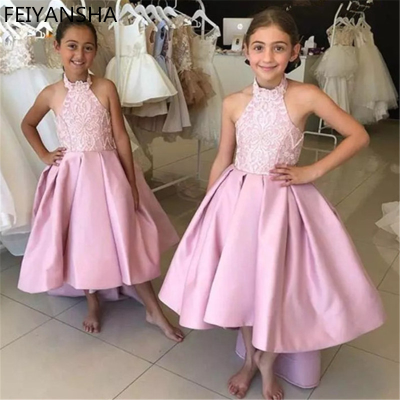 Newest   Flower     Girl     Dress   With Sweep Train Off Shoulders Backless Pink Princess   Dress   For Wedding   Girls   Parties Vestidos