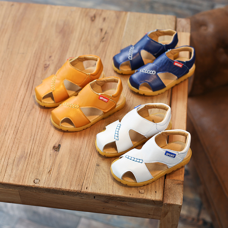 2018 summer new yellow boys and girls 100% leather beef tendon bottom Baotou sandals kids boys beach shoes kids sandals princess