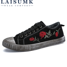 2019 LAISUMK Canvas Do Old Dirty Classic Rose Flower Flats Male Spring Summer Trainers Casual Lace Up Sneakers Trend Footwear