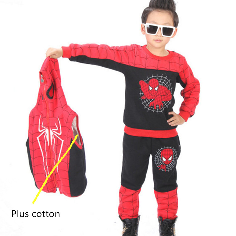 3pcs 2018new Children Clothing Boys Set Baby Boys Clothes Set Winter Spiderman Toddler Boys Vest Suits Hooded Kids Clothing Sets 2018 sweatshirt kids clothing sets toddler baby boys clothes set winter warm children clothing set for boys cotton kids 2 piece