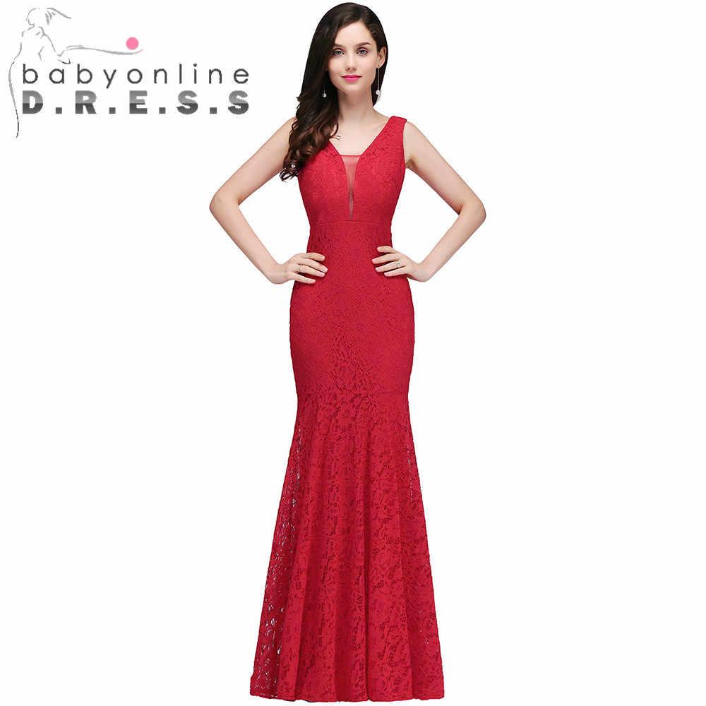 7094eb05678 Babyonlinedress Sexy v-образным вырезом в стиле Русалочки без спины Кружева  Вечерние платья Длинные Дешевое