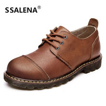 Men Vintage Genuine Leather Casual Shoes Classic Lace-Up Oxford Shoes Retro Round Toe England Style Driving Shoes AA11627