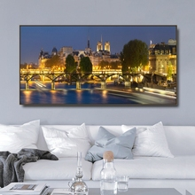 Night of Notre Dame in Paris Canvas Painting & Calligraphy Poster Print Living Room House Wall Decor Art Home Decoration Picture