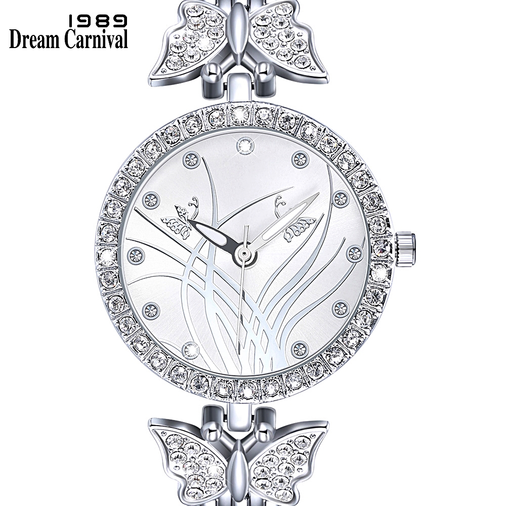 DreamCarnival 1989 Pretty Butterfly Design Timepiece For Women Top Quality Crystal Case Rhodium Color Elegant Wrist Watch A8352