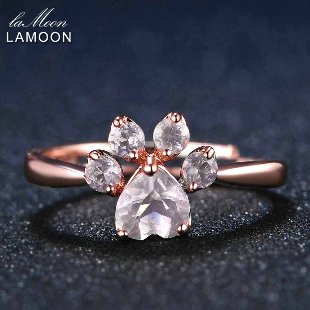 LAMOON 925 Sterling Silver Ring For Women Bear Paw Rose Quartz Gemstone 18K Rose Gold Adjustable Ring Fine Jewelry RI027-2