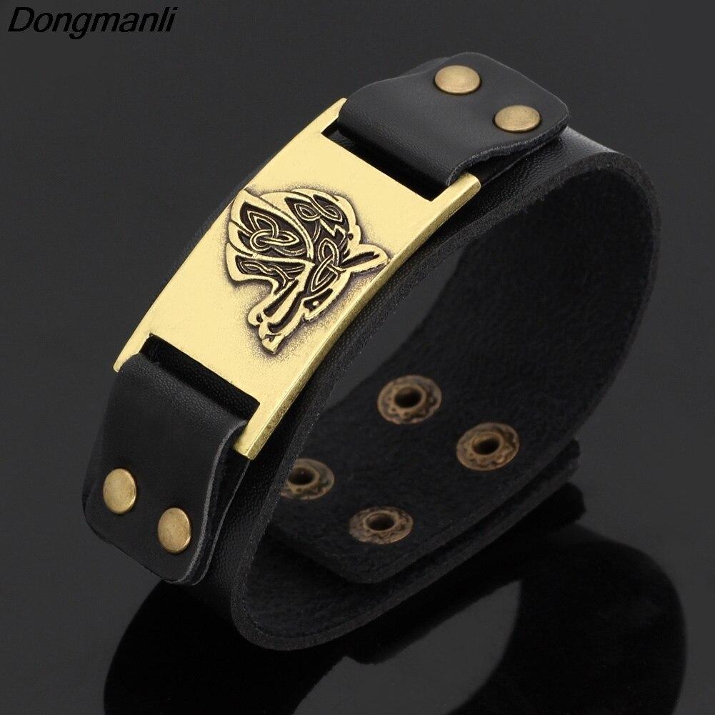 32e1bc74154c P2519 Dongmanli Vintage Religion Bangle Viking Wolf Bracelet Men Leather  Strap Bracelets Bangles Totem Jewery Accessories