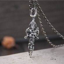 Solid 925 Sterling Silver Thai Elephant Trunk God Buddha Pendant King Kong Cross Lucky Transit 15G