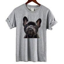 """Женская футболка размера плюс, модная свободная футболка с принтом """"Французский Бульдог"""", женская летняя Стильная хлопковая футболка"""