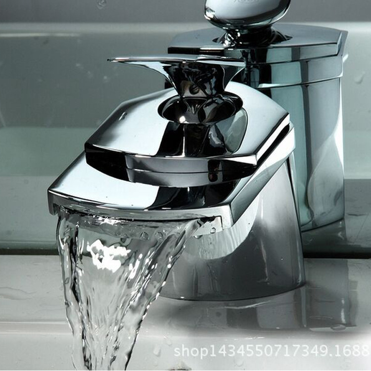 Kitchen faucet foreign trade export wide mouth waterfall faucet duckbill waterfall led basin basin faucet kitchen faucet