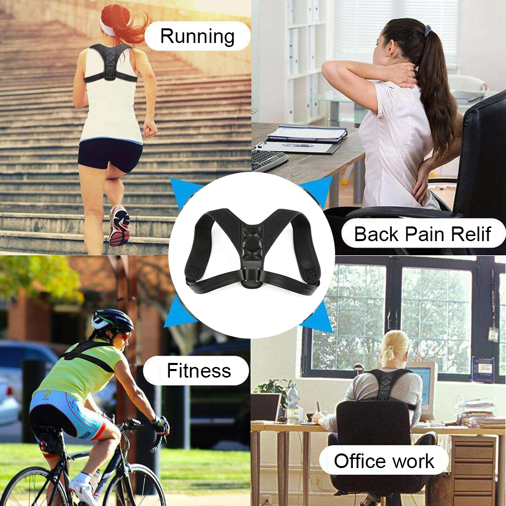 1Pc Healthy Improve Hunchback Adjustable Posture Corrector  Support Back Shoulder Brace Black Color Strap For All Body Sizes