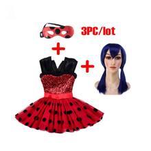 Milagrosa Niñas Niños Flash Rojo Vestido Para Niñas Máscara Cosplay Disfraces de Halloween Mariquita Marinette Peluca Bobo Choses Ropa(China (Mainland))