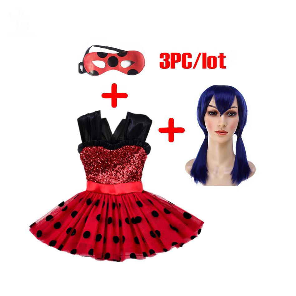 Miraculous Girls Dress Kids Flash Red Dress For Girls Mask Cosplay Costumes Halloween Ladybug Marinette Wig Bobo Choses Clothes аксессуары для косплея cosplay wig cosplay cos cos