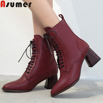 ASUMER fashion new autumn winter boots women square toe lace up genuine leather boots thick high heels shoes women ankle boots