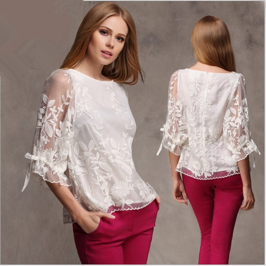 4a3103bd276d6b Blusas Femininas 2015 Autumn New European Style Plus Size White Lace Shirt  Embroidered Elegant Sexy Women Organza Shirt Blouse