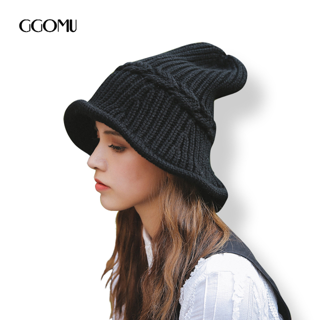 883ad431963 dropshipping Fashion Winter women solid color wool knit bucket hat Casual  warm Knitted Brand Black beanies