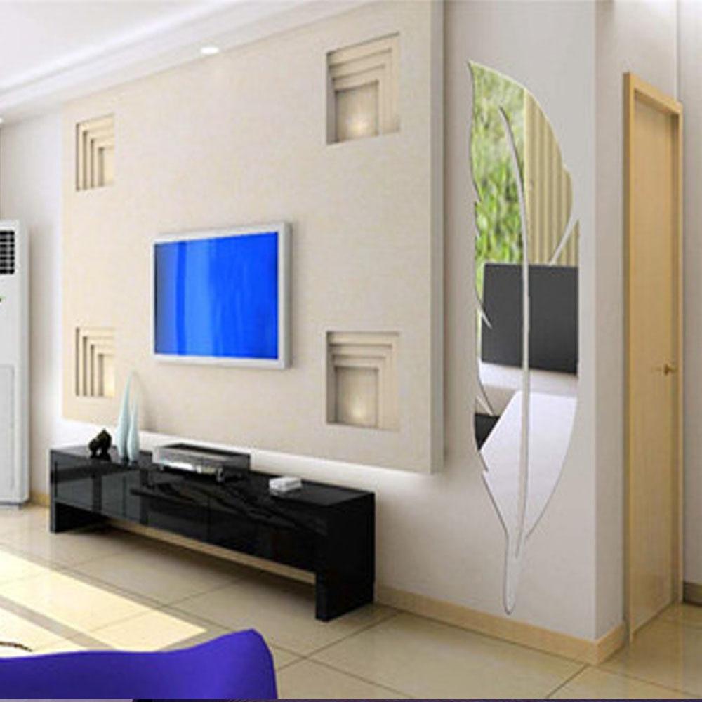 Miroir Salle De Bain Tv ~ 3d plume motif salle de bains miroir autocollants enfants chambre de