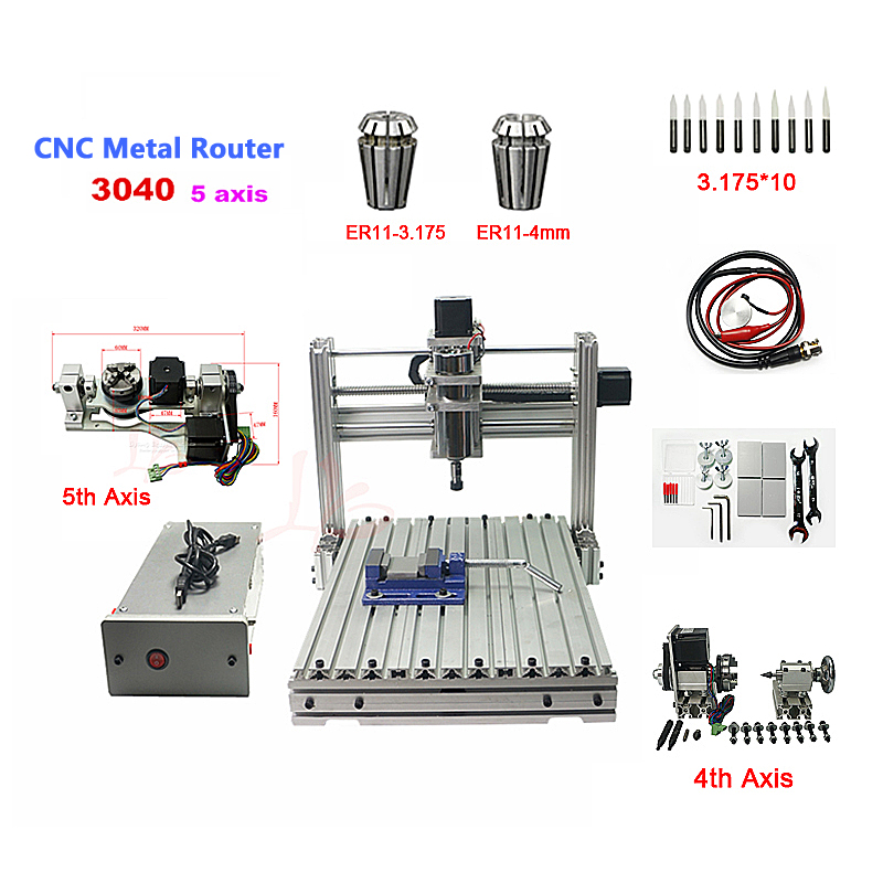 ER11 FAI DA TE 3040 macchina per incisione in metallo Pcb Fresatura Macchina di legno di cnc router porta USB
