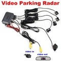 DIYKIT Car Reverse Video Parking Radar 4 Sensors Rear View Backup Security System Sound Buzzer Alert Alarm For Camera Monitor