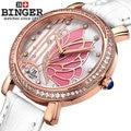 New Fashion Binger Butterfly Quartz Watches Women Rhinestone Wristwatch Full Steel Dress Wristwatches Watch Clock Hot Selling