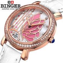 Новая Мода Бингер Бабочка Кварцевые Часы Женщины Rhinestone Наручные Часы Полная Сталь Платье Наручные Часы Часы Часы Горячий Продавать