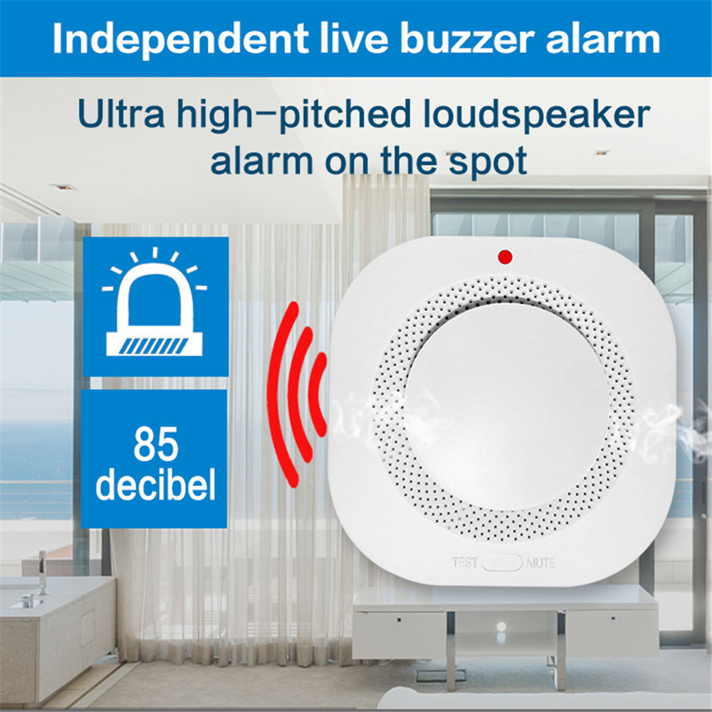 Closeout Deals433MHz Wireless Fire Protection Temperature and Smoke Double alarm Detector Alarm Sensors