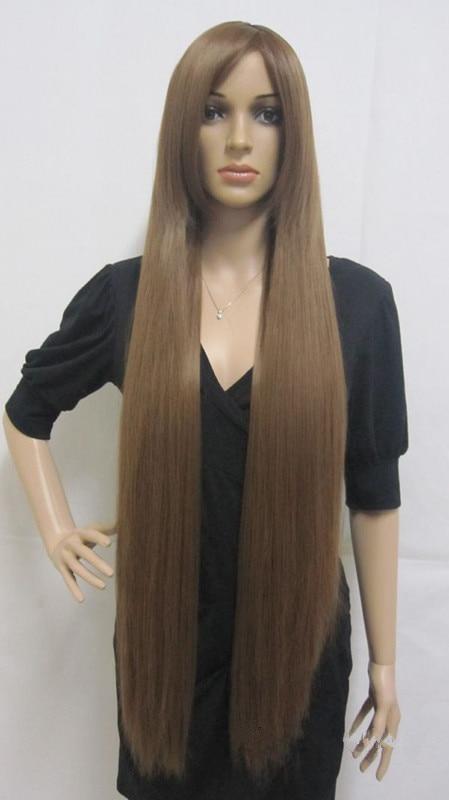 Fashion Capless Long Synthetic Hair Brown Straight Cheap ...