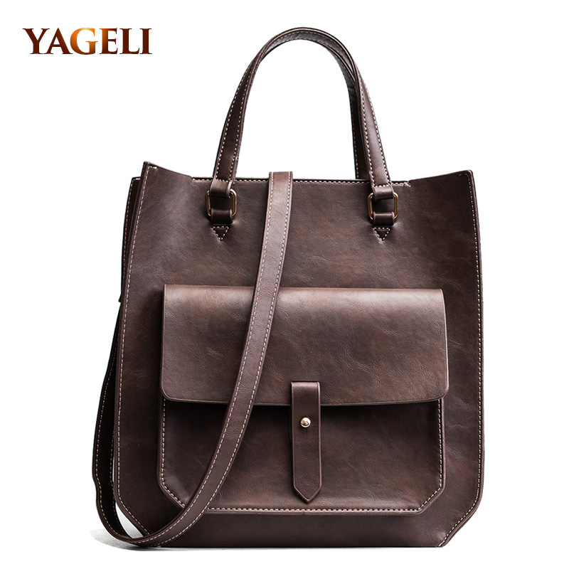 Vintage Ladies Casual Totes PU Leather Handbag for Women High Quality Hand bag with Solid Pocket Design Women's Shoulder Bags