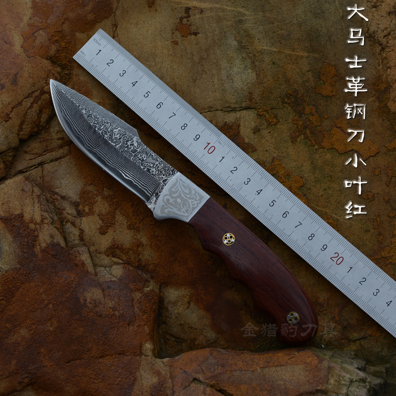 Damascus pattern steel Hunting knife Fixed Leather handle Tactical Knife Outdoor camping survival Knives цена 2017