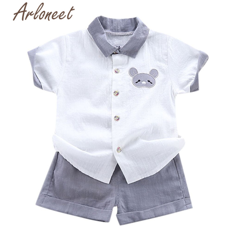 In Popular Brand Arloneet Clothes Baby Boys Cartoon Shirt Cotton Shorts Funny Kids Tops Beach Shirt For Boys 2pcs 2019 Summer Toddle Boy Outfits Excellent Quality