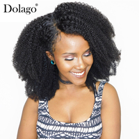 13x4 Lace Frontal Closure Pre Plucked With Baby Hair Mongolian Afro Kinky Curly Remy Hair Natural Black Human Hair Dolago