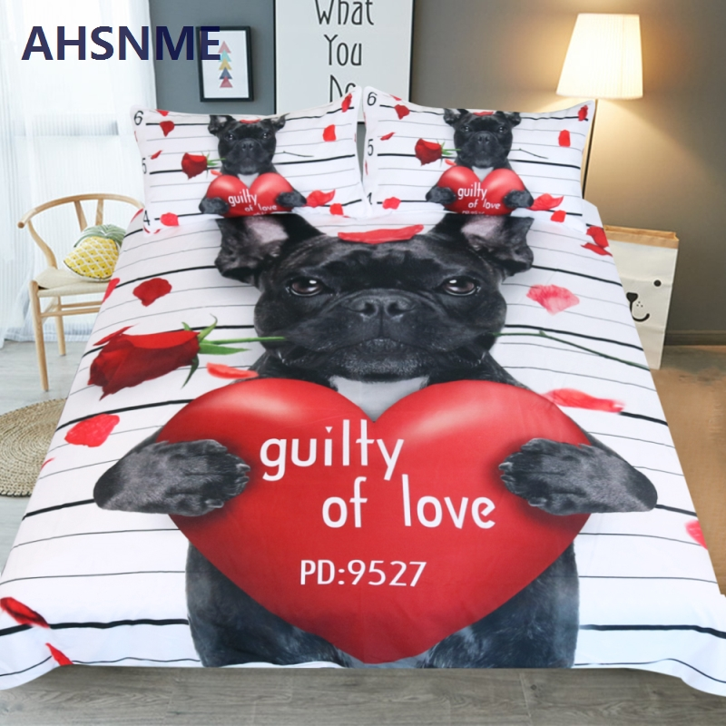 AHSNME Love mignon chien PD: 5927 ensemble de literie King Size plus jeune chambre haute définition impression 3d housse de couette