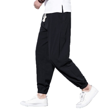 hot deal buy 2018 new men's casual pants elastic waist men trousers,plus size hip hop harem pants jogger pants men chinese style linen pants