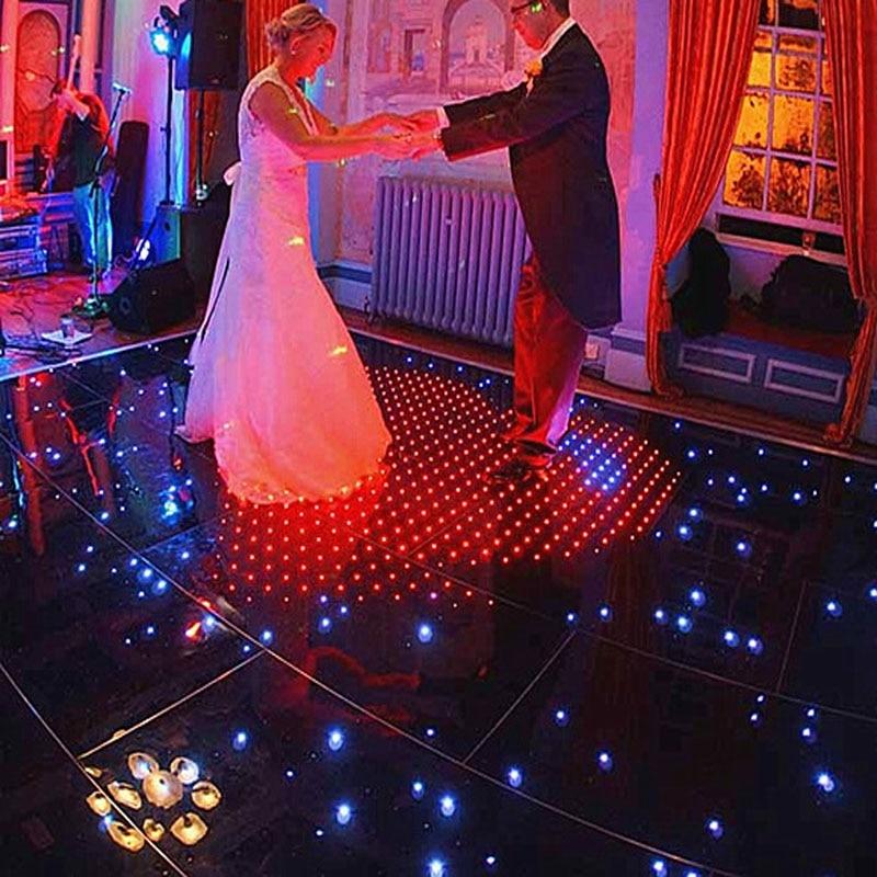 14X14ft LED Starlight Dance Floor White Light Black Panel