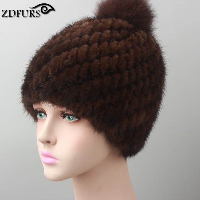 ZDFURS * real mink fur hat for women winter knitted mink fur beanies cap with fox fur pom poms brand thick female cap ZDH-161021
