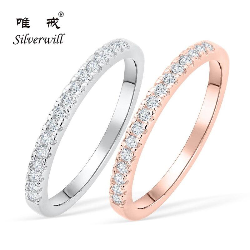 Silverwill 925 anneaux de mariage en argent Sterling bande mince empilable couleur or rose Moissanite anneaux pour les femmes toutes les tailles disponibles