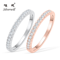 Silverwill 925 Sterling Silver wedding rings band thin stackable rose gold color Moissanite rings for women all sizes available