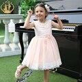 Nimble nuevo verano muchachas de la princesa vestido de encaje apliques vestidos de las muchachas para el partido y la boda