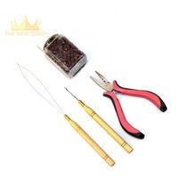 Silicone Micro Links Kralen Haar Kralen + Haak Naald + Loop Threader + Extensions Tang Voor Ik Tip Hair Extensions professionele Kits