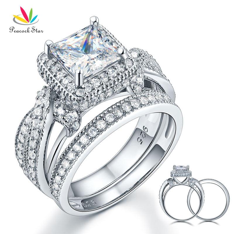 все цены на Peacock Star Solid 925 Sterling Silver Wedding Anniversary Engagement Ring Set Vintage Style Princess CFR8234