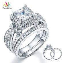 Павлин звезда Твердые стерлингового серебра 925 годовщина свадьбы обручальное кольцо Набор Винтаж Стиль принцессы CFR8234