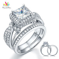 Luxury Solid 925 Sterling Silver Wedding Engagement Ring Set Vintage Style Princess Created Diamond CFR8234