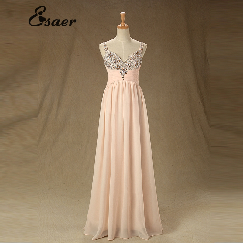 Real Picture Sweetheart Crystal Spaghetti Strap Long Evening Dress Sexy Zip Women Formal Prom Party Dresses - Esaer Wedding Store store