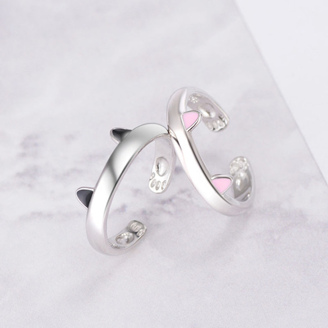 Cute Fashion Jewelry For Woman Girls Finger Shiny 925 Sterling Silver Open Rings With Tiny Cat Ear Lovely Paws Inside