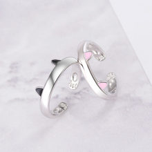 Cute Fashion Jewelry For Woman Girls Finger Shiny 925 Sterling Silver Open Rings With Tiny Cat Ear Lovely Paws Inside(China)