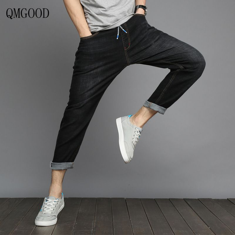 QMGOOD 2017 Hot selling fashion spring summer men's jeans slim, 9 points pants, small feet pants,  casual stretch Haren pants