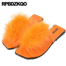 406379f86a4 Fluffy Designer Shoes Women Luxury 2017 Big Size Flat Toe Ring Slides 11  Furry Orange Fur Cute Kawaii Slippers Sandals Flip Flop