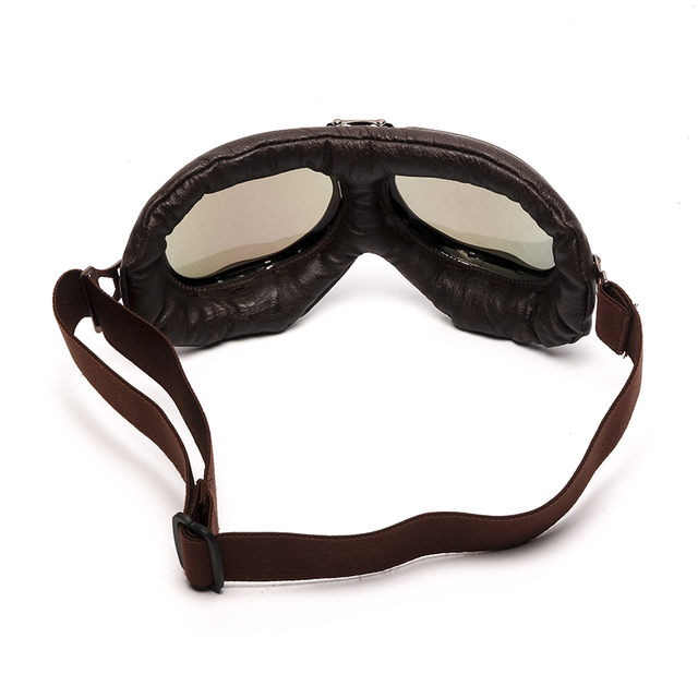 Triclicks Helmet Steampunk Copper Glasses Motorcycle Flying Goggles Vintage Pilot Biker Eyewear Goggles Protective Gear Glasses 4