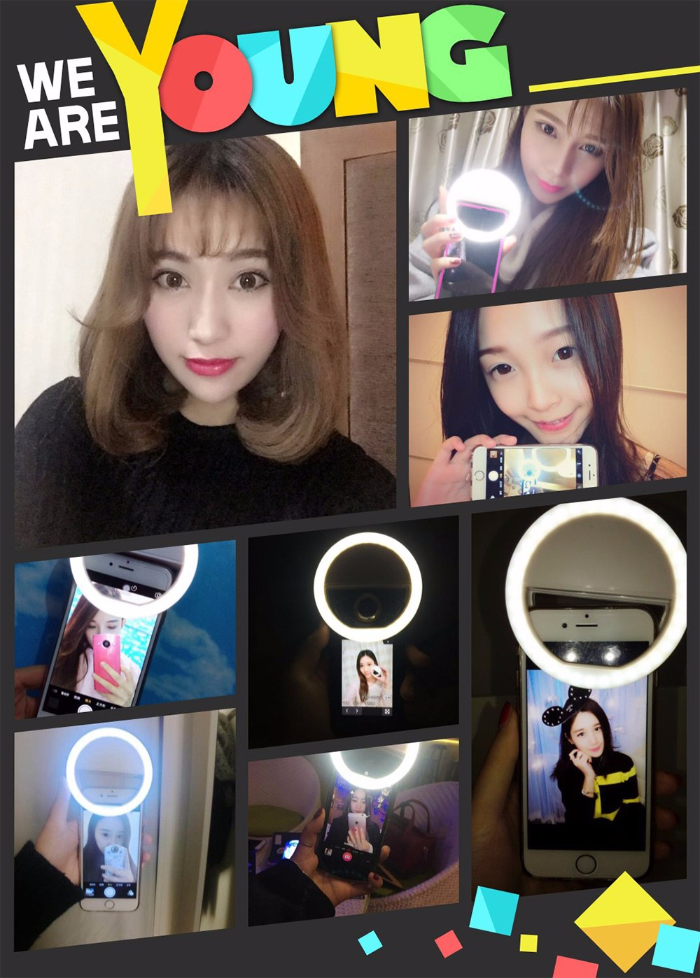 Practical and Portable Selfie Flash LED Phone Camera Ring Light For Apple Iphone Samsung HTC 12