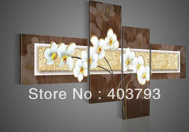 4pc modern Wall Art  Oil Painting On Canvas abstrat painting flower no frame free shipping