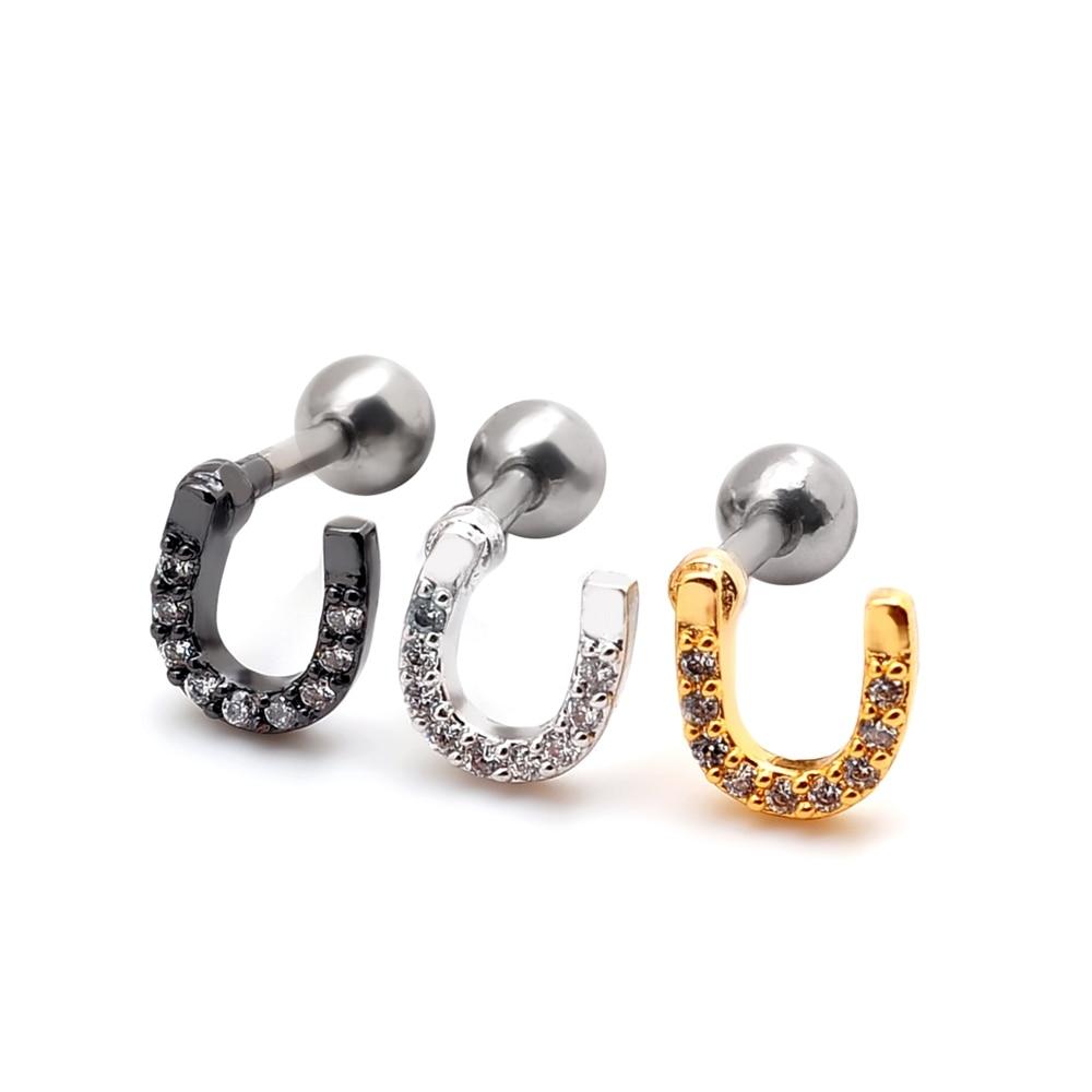 1 Piece 18g 2015 New Cz Gem Horseshoe U Shaped Cute Ear Stud Cartilage  Earring Tragus Helix Piercing Fashion Girl Women Jewelryin Stud Earrings  From